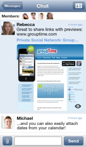 Group sharing of links with Grouptime